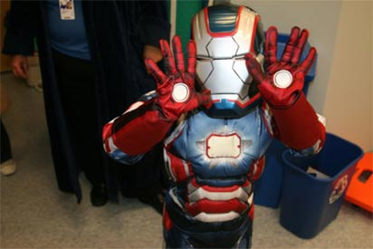 Child dressed up in Ironman costume